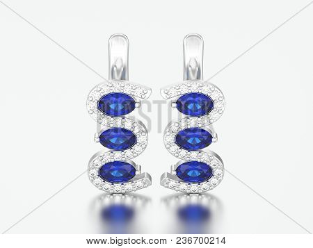 3d Illustration Isolated White Gold Or Silver Diamond Sapphire Earrings With Hinged Lock On A Gray B