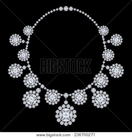 3d Illustration Isolated Diamond Necklace With Glittering Precious Stones On A Black Background
