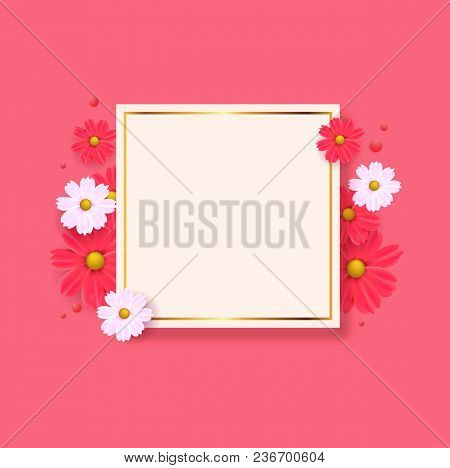 Pink Background With Floral Greeting Card, Happy Womens Day