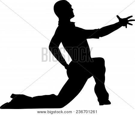 Male Dancer Dance Pose On His Knee Black Silhouette