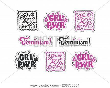 Set Of Feminism Stickers. Feminism Symbols Vector Illustration Design. Girl Power Lettering Quote. R