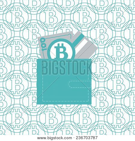 Stylized Icon Of A Colored Purse With Money Bill, Credit Card And Bitcoin On A Bitcoins Background