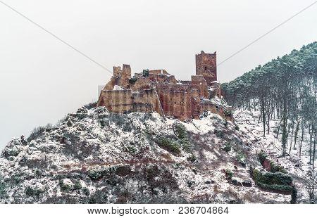 Saint Ulrich Castle In The Vosges Mountains Near Ribeauville. Haut-rhin, France