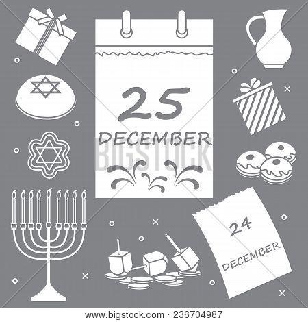 Vector Illustration: Jewish Holiday Hanukkah: Calendar, Gifts, Dreidel, Sivivon, Menorah, Coins, Don