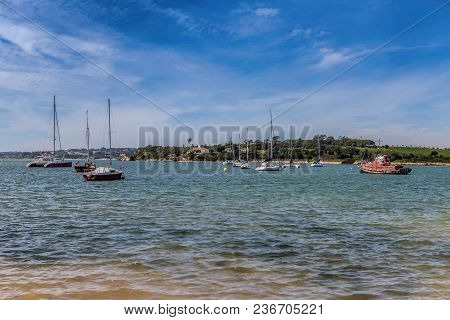 Yachts Ships In The Bay Of The River Alvor. Portugal