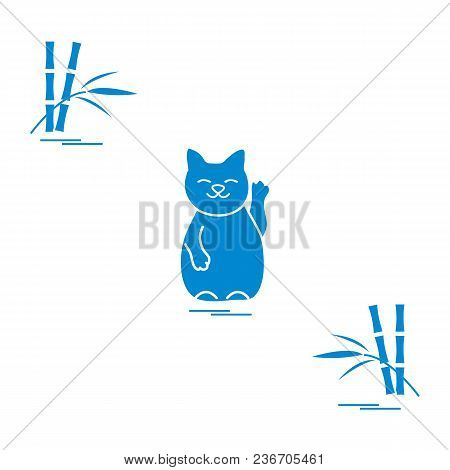 Stylized Icon Of Japanese Lucky Cat Maneki Neko. Travel And Leisure. Design For Banner, Poster Or Pr