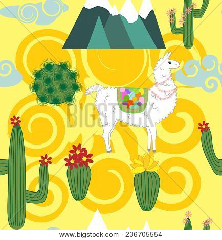 Vector Illustration Of Seamless Pattern With Cute Cartoon Llama Alpaca With Cactus And Design Elemen