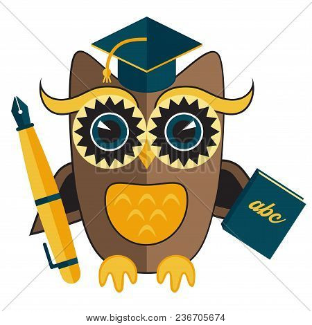 Owl Teacher Flat Colorful Wild Bird Character With Pen And Book Vector Illustration