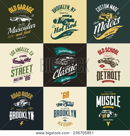 Vintage Muscle, Roadster, Hot Rod And Classic Car Vector T-shirt Logo Isolated Set. Premium Quality