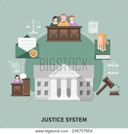 Law Composition With Set Of Flat Justice System Related Images Court Hearing Participants Human Char