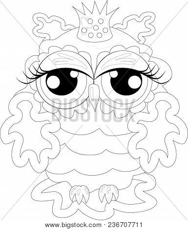 Coloring Book For Adult And Older Children. Coloring Page With Cute Owl And Floral Frame. Outline Dr
