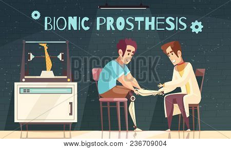 Bionic Prosthesis Doctor Illustration With Doodle Human Characters Of Patient And Doctor Installing