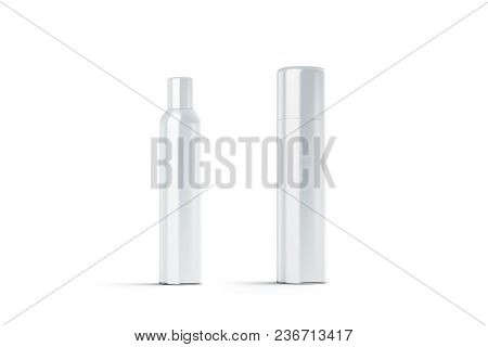 Blank White Plastic Closed Hairspray Bottle Mockups, 3d Rendering. Empty Deodorant Aerosol Mock Up I