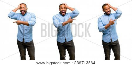 African american man with beard pointing away side with finger