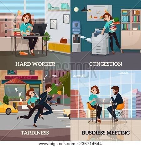 Multitasking 2x2 Design Concept Set Of Business Meeting Hard Worker Congestion And Tardiness Flat Sq