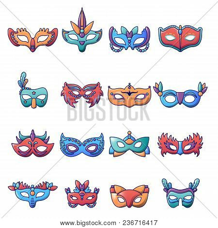 Carnival Mask Venetian Icons Set. Cartoon Illustration Of 25 Carnival Mask Venetian Icons For Web
