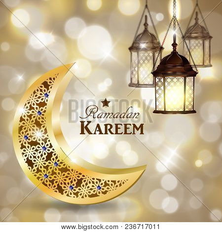 Ramadan Greetings With Golden Moon And Lanterns On Golden Bokeh Background Vector
