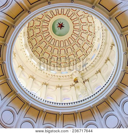 Austin, Texas, April 19, 2017 - The Dome In The Rotunda Of The Texas State Capital Building