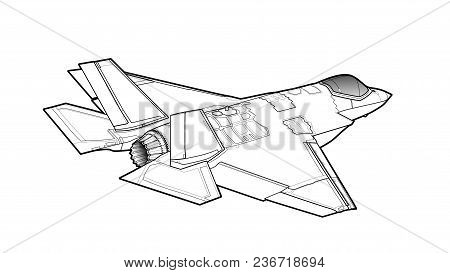 Landing Of The Newest American Jet Fighter Aircraft. Technichal Draw. Isolated On White Background.