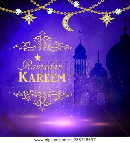 Mosque Silhouette Background In Sunset Sky And Golden Moon And Stars For Ramadan Of Islam Vector