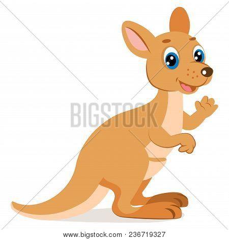 Kangaroo Encounter. Cute Funny Wallaby Vector Illustration. Cartoon Australian Animals Vector. Endan