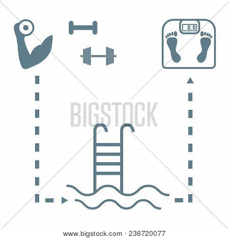 Nice Picture Of The Sport Lifestyle: Hand With Dumbbells, Barbells, Swimming Pool And Scales On A Wh