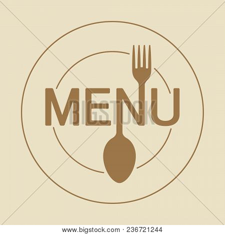 Menu Round Icon With Stylized Shape Of Fork And Spoon And Dish In Gentle Beige And Brown Gamma.