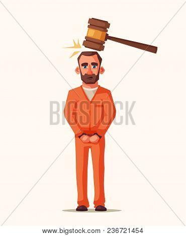 Prisoner In Prison. Character Design. Cartoon Illustration. Criminal In Orange Uniform. Angry And Sa