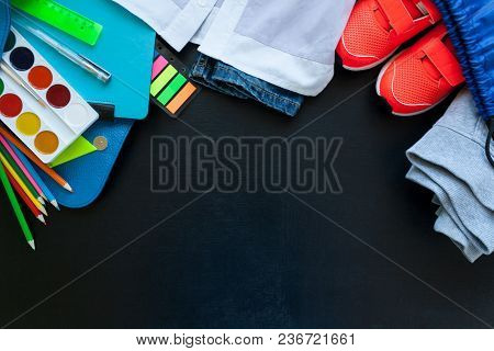 School Fees, Colorful Pencils Scissors On Chalkboard Background, Space For Text, Flat Lay, Back To S