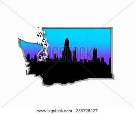 Washington WA Skyline City Metropolitan Area Nightlife 3d Illustration