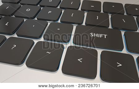 Shift Computer Laptop Keyboard Button Change 3d Illustration