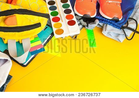 School Fees, Colorful Pencils Scissors On Yellow Background, Space For Text, Flat Lay, Back To Schoo
