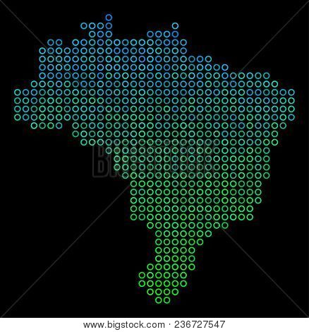 Dotted Gradient Brazil Map. Vector Territory Map In Green And Blue Gradiented Color Tinges On A Blac