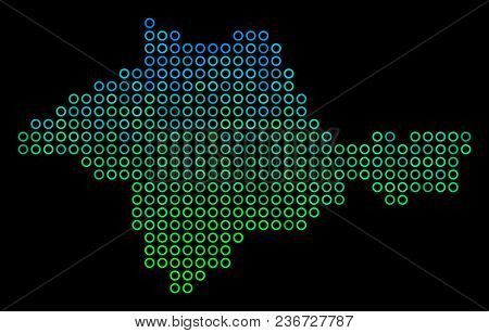 Dotted Gradient Crimea Map. Vector Territorial Map In Green And Blue Gradiented Color Tinges On A Bl