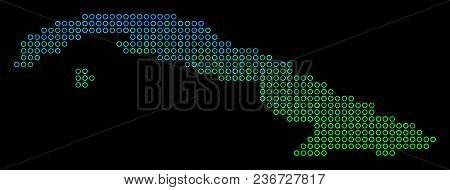 Dotted Gradient Cuba Map. Vector Geographic Map In Green And Blue Gradiented Color Shades On A Black