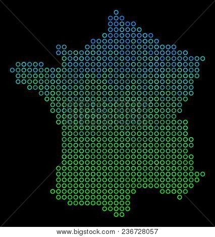 Dotted Gradient France Map. Vector Territory Map In Green And Blue Gradiented Color Tinges On A Blac