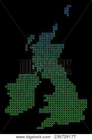 Dotted Gradient Great Britain And Ireland Map. Vector Geographic Map In Green And Blue Gradiented Co