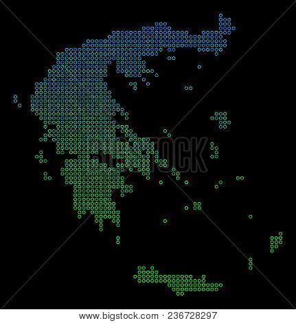 Dotted Gradient Greece Map. Vector Geographical Map In Green And Blue Gradiented Color Tones On A Bl