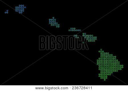 Dotted Gradient Havaii Islands Map. Vector Geographical Map In Green And Blue Gradiented Color Hues