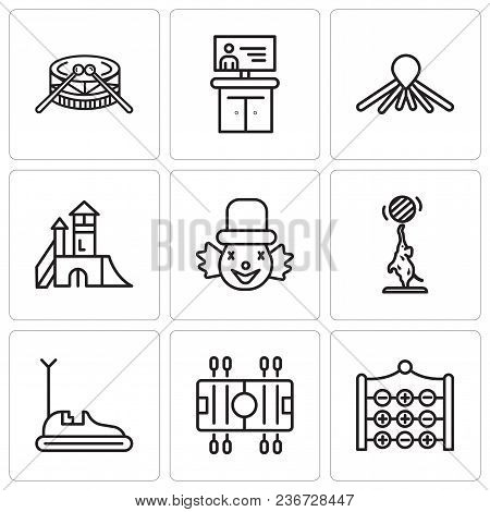 Set Of 9 Simple Editable Icons Such As Tic Tac Toe, Soccer, Bumper Car, Elephant, Clown, Playground,