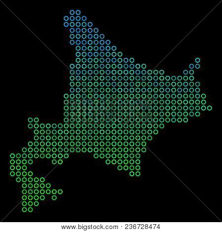 Dotted Gradient Hokkaido Island Map. Vector Geographic Map In Green And Blue Gradiented Color Tinges