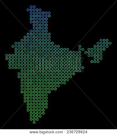 Dotted Gradient India Map. Vector Territory Map In Green And Blue Gradiented Color Hues On A Black B