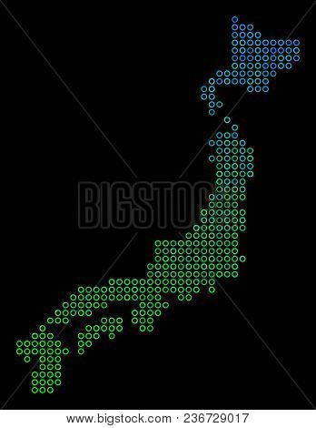 Dotted Gradient Japan Map. Vector Geographic Map In Green And Blue Gradiented Color Variations On A