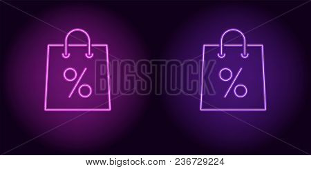 Neon Shopping Bag In Purple And Violet Color. Vector Illustration Of Shopping Bag With Percent Consi
