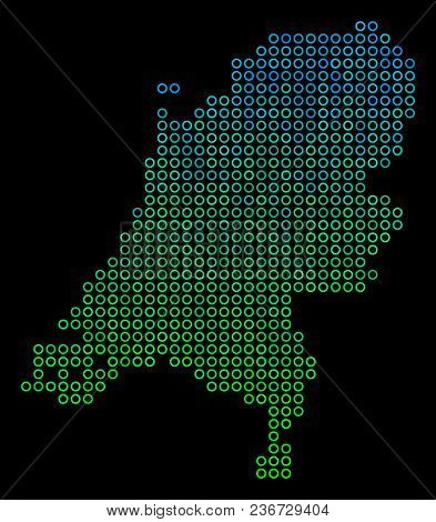 Dotted Gradient Netherlands Map. Vector Geographical Map In Green And Blue Gradiented Color Variatio