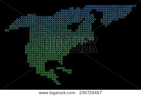 Dotted Gradient North America Map. Vector Territory Map In Green And Blue Gradiented Color Tones On
