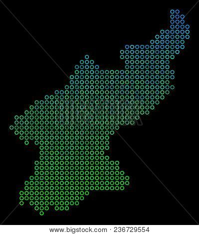 Dotted Gradient North Korea Map. Vector Territorial Map In Green And Blue Gradiented Color Tints On