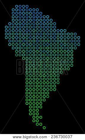Dotted Gradient South America Map. Vector Territory Map In Green And Blue Gradiented Color Hues On A