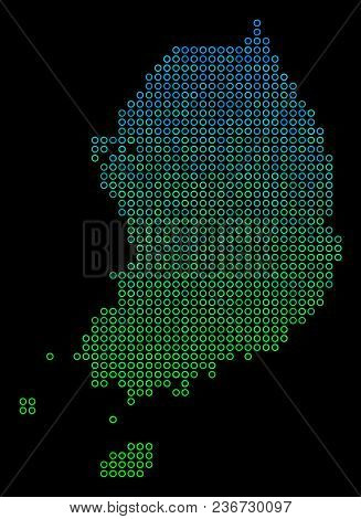 Dotted Gradient South Korea Map. Vector Geographical Map In Green And Blue Gradiented Color Hues On