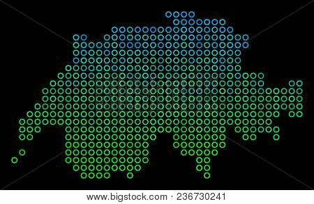 Dotted Gradient Swissland Map. Vector Geographic Map In Green And Blue Gradiented Color Tinges On A